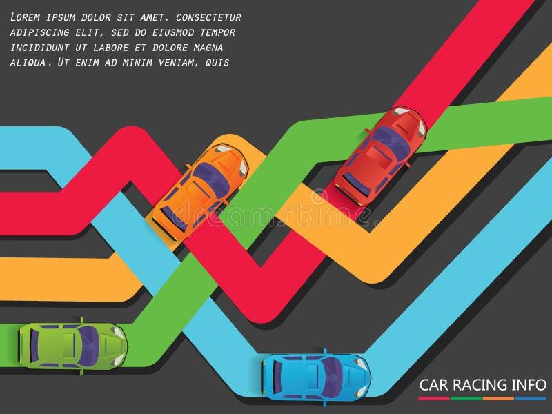 Vier Farbauto und Laufen auf der Stange stock abbildung