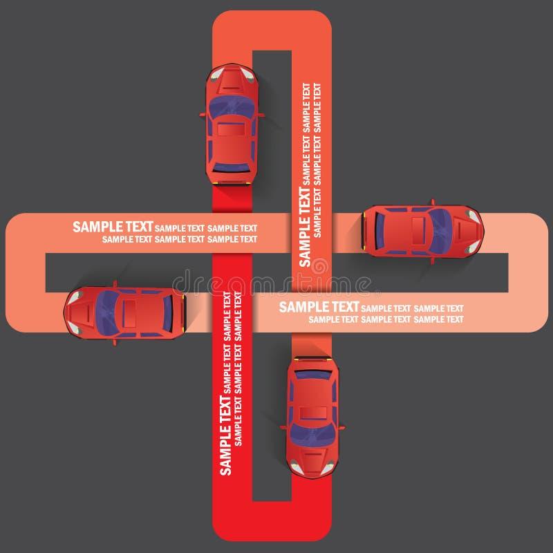 Vier Farbauto und Laufen auf der Verblassungsrassenschranke stock abbildung