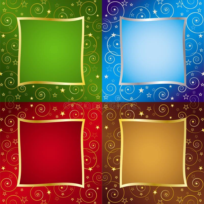Vier Farben-Feiertags-Hintergründe stock abbildung