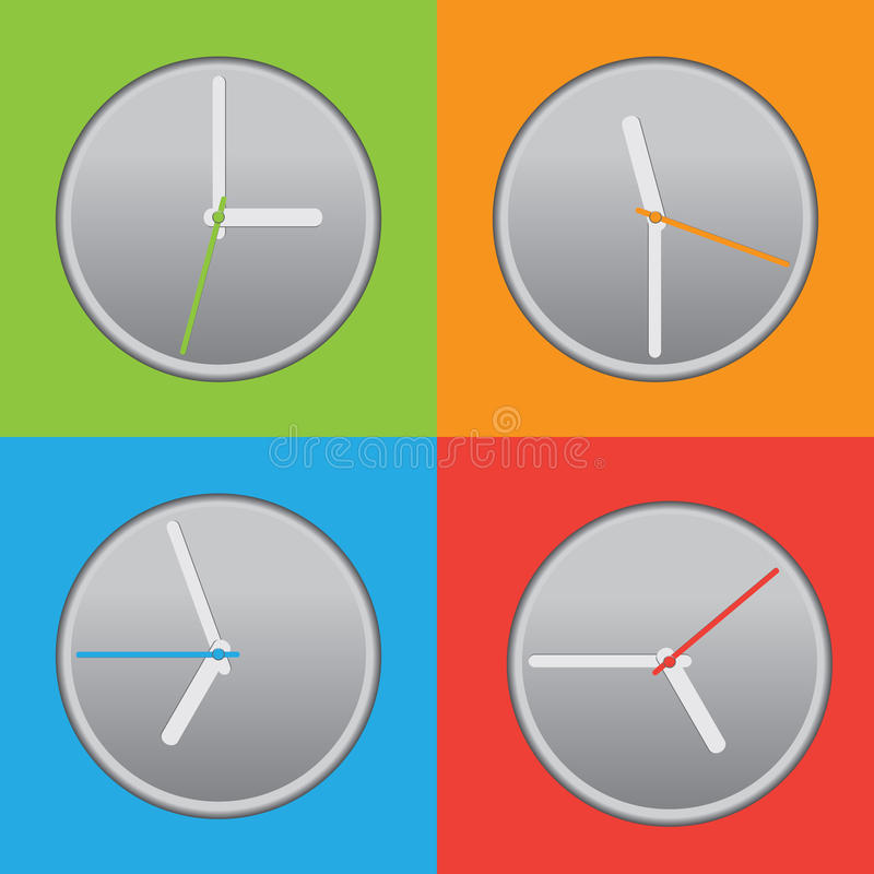 Vier farbige Uhr stock abbildung