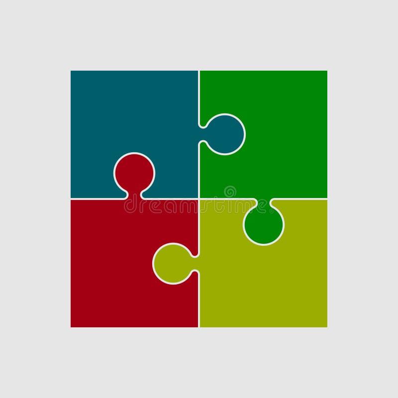 Vier Farbstück-Puzzlespiel rundes Infographic Schritt 4 stock abbildung