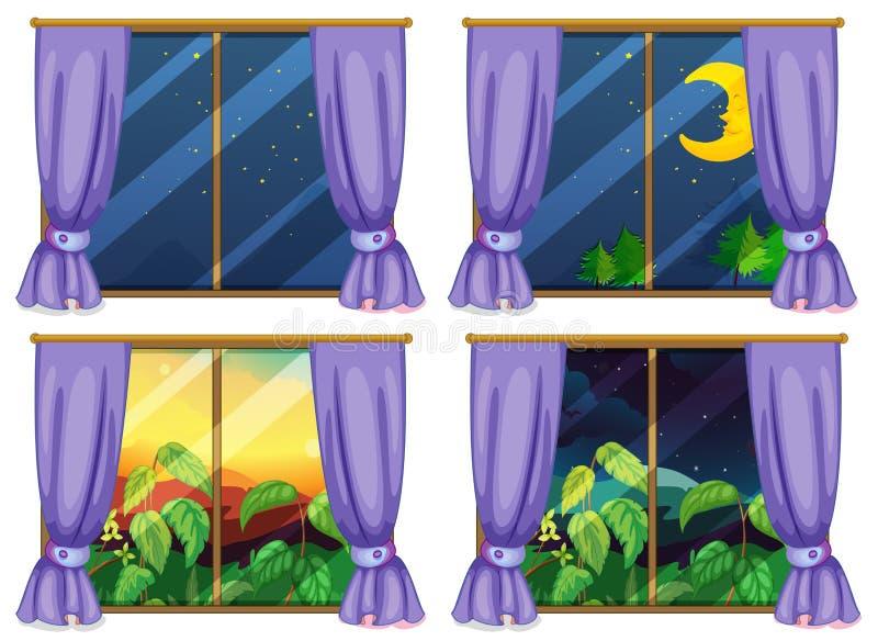 Vier Fensterszenen Tag und Nacht vektor abbildung