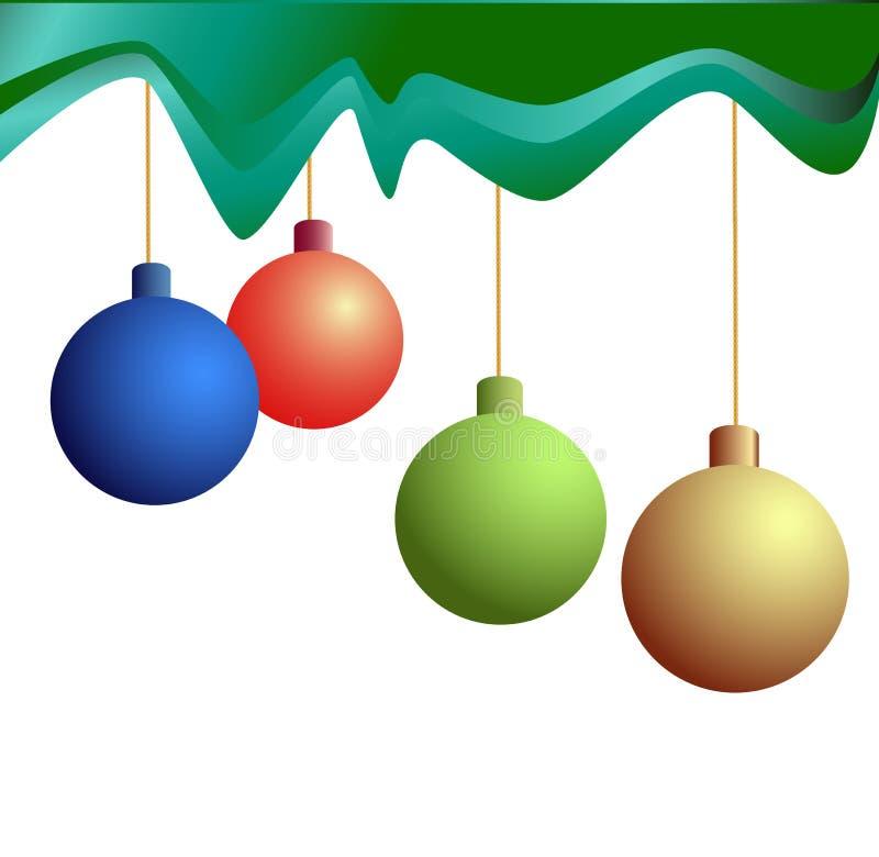 Vier festliche Weihnachtsbälle stock abbildung