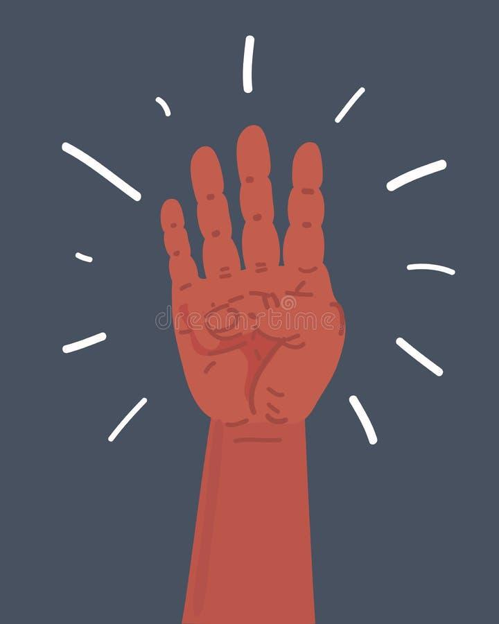 Vier Finger gestikulieren auf Dunkelheit lizenzfreie abbildung