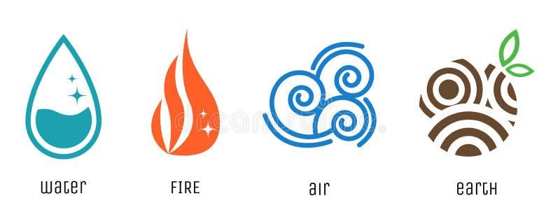 Vier flache Artsymbole der Elemente Wasser, Feuer, Luft, Erde unterzeichnet Der transparente einfache Schatten ersetzen Hintergru