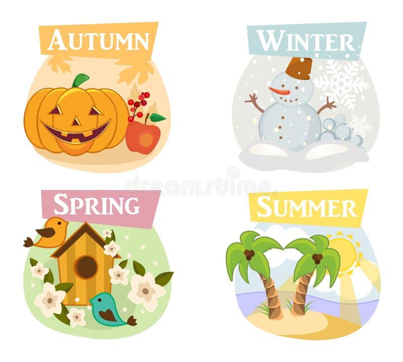 Vier flache Ikonen der Jahreszeiten: Winter, Frühling, Sommer, Herbst lizenzfreie stockfotos