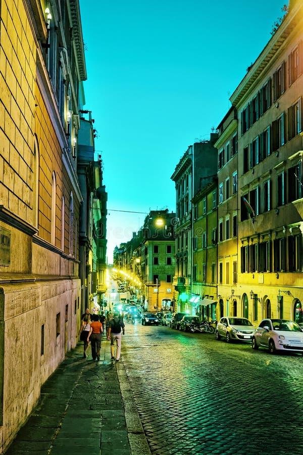 Vier fonteinenstraat in Rome in Italië bij nacht royalty-vrije stock afbeeldingen