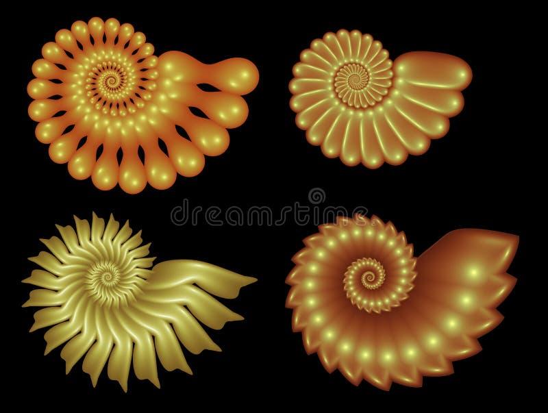 Vier Fractal Spiralen royalty-vrije illustratie