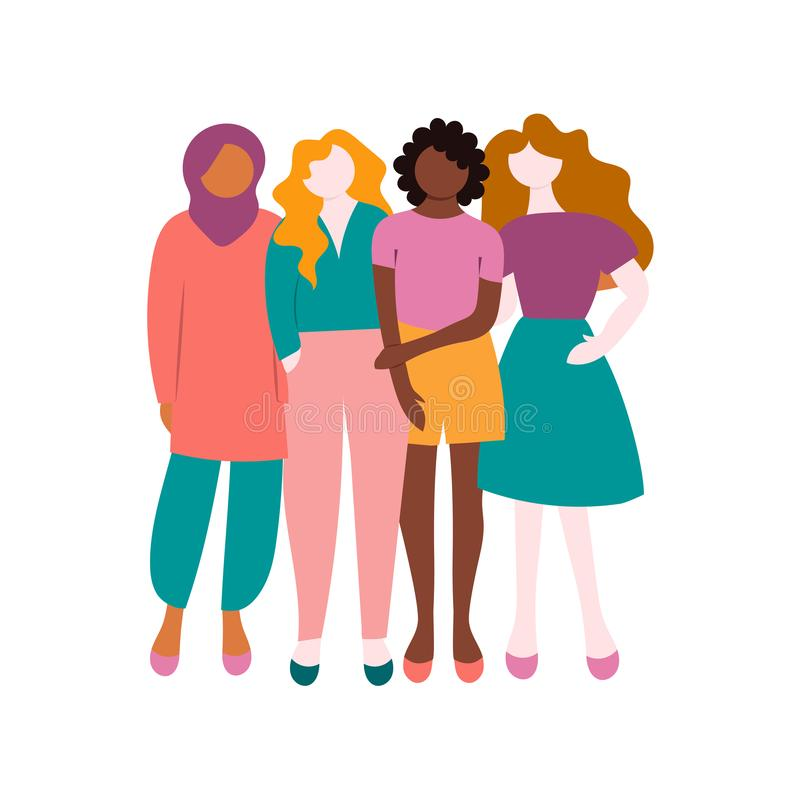 Vier Frauen, Mädchen, Freundinnen Feminismusaktivisten Vektor vektor abbildung