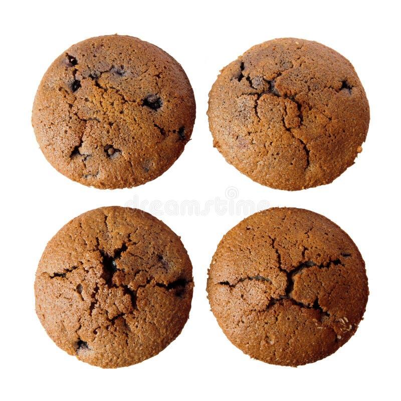 Vier freie Muffins des Glutens getrennt lizenzfreie stockfotos