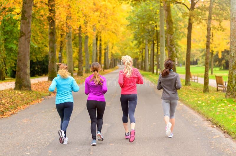Vier Freundinnen, die zusammen in Herbst laufen stockfotografie