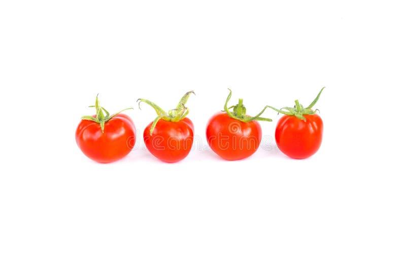 Vier frische saftige rote Kirschtomaten in der Linie, Bestandteil des biologischen Lebensmittels, Abschluss oben, lokalisiert auf stockfotografie