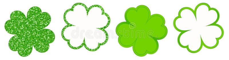 Vier funkelnde Klee-Blätter und glänzendes Grün lizenzfreie abbildung
