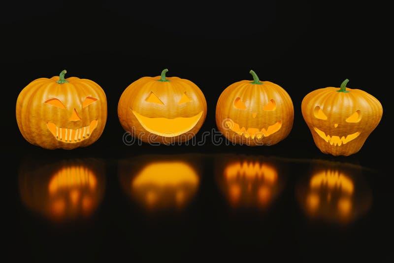 Vier furchtsame Halloween-Kürbise mit Reflexion auf dem schwarzen backg stock abbildung