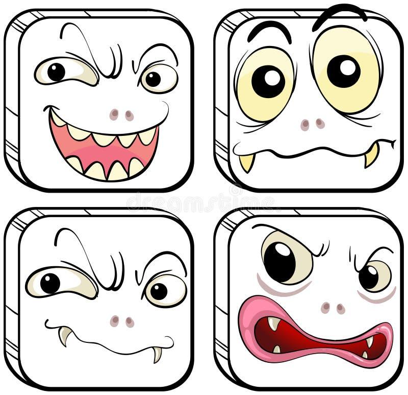 Vier furchtsame Monster lizenzfreie abbildung