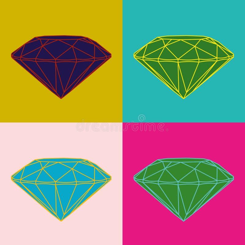 Vier gekleurde diamanten op kleurenachtergrond Pop-artbeeld stock illustratie