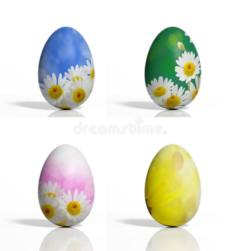 Vier gekleurde eieren stock illustratie