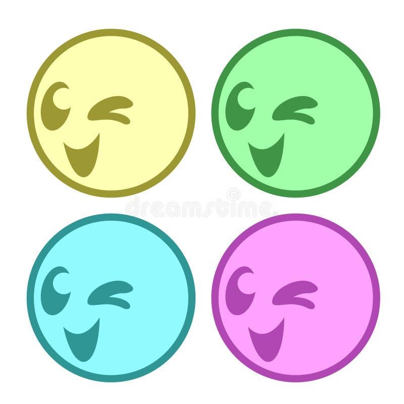 Vier gelukkige gezichten royalty-vrije illustratie