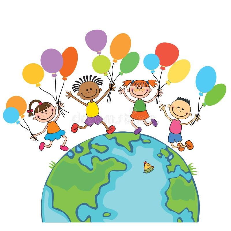 Vier gelukkige het springen jonge geitjes om de bol, met ballons achtergrondbeeldverhaal vector illustratie