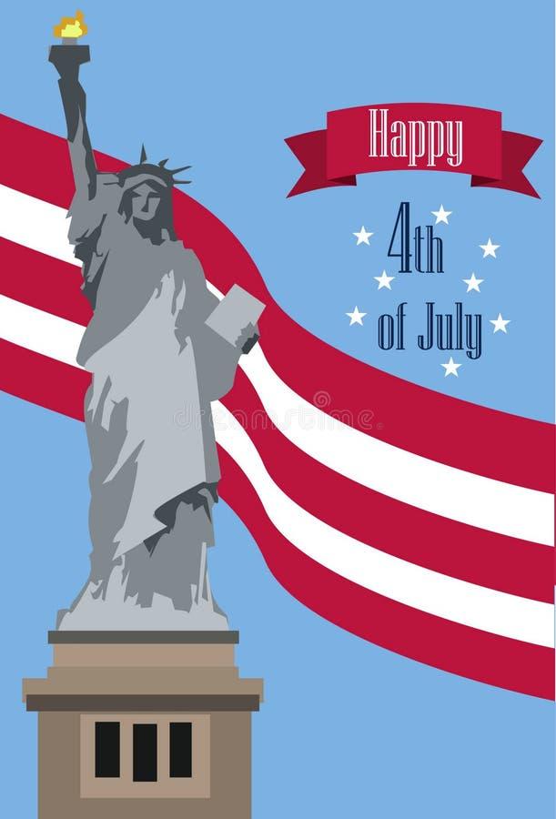 Vier Gelukkige 4 van Juli - Onafhankelijkheidsdag royalty-vrije illustratie