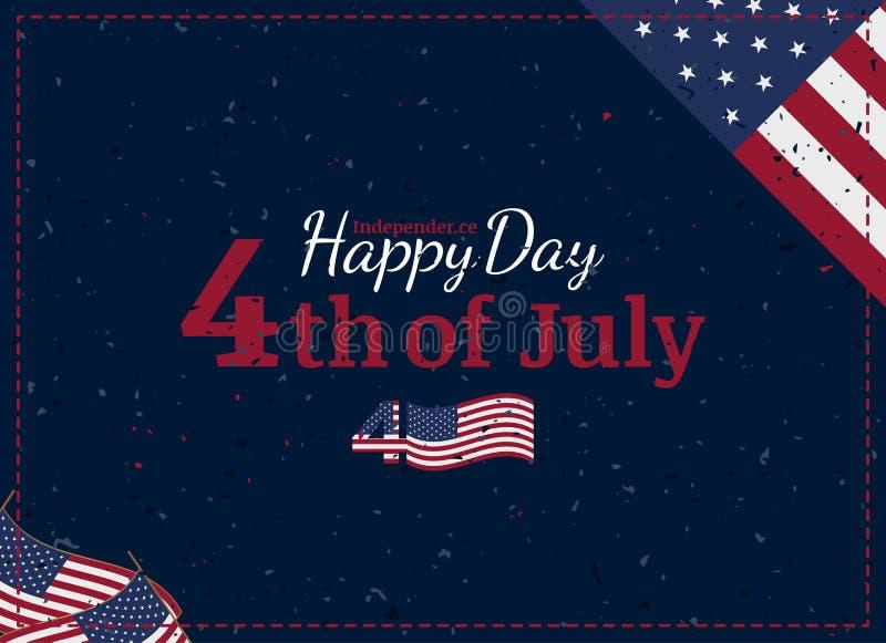 Vier Gelukkige 4 van Juli - Onafhankelijkheidsdag Uitstekende retro groetkaart met de vlag van de V.S. en ouderwetse textuur vector illustratie