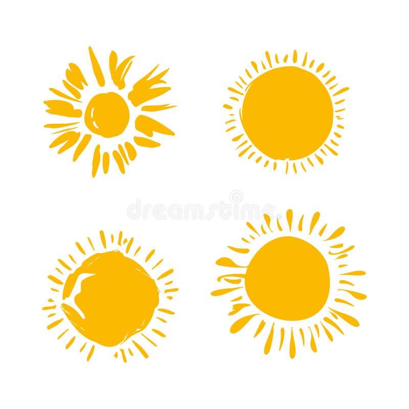 Vier gemalte Sonnen Vektorsolarsymbolsatz stock abbildung