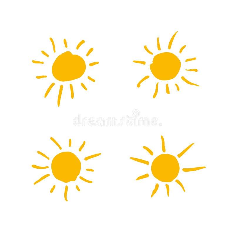 Vier gemalte Sonnen Vektorsolarsymbolsatz lizenzfreie abbildung