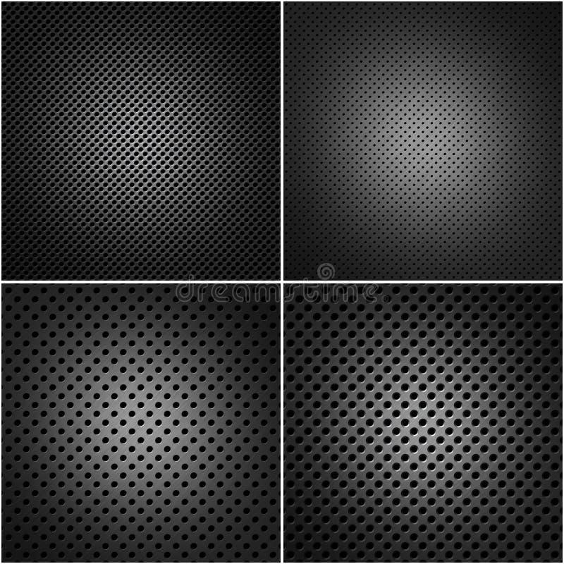 Vier geperforeerde metaalplaten royalty-vrije illustratie