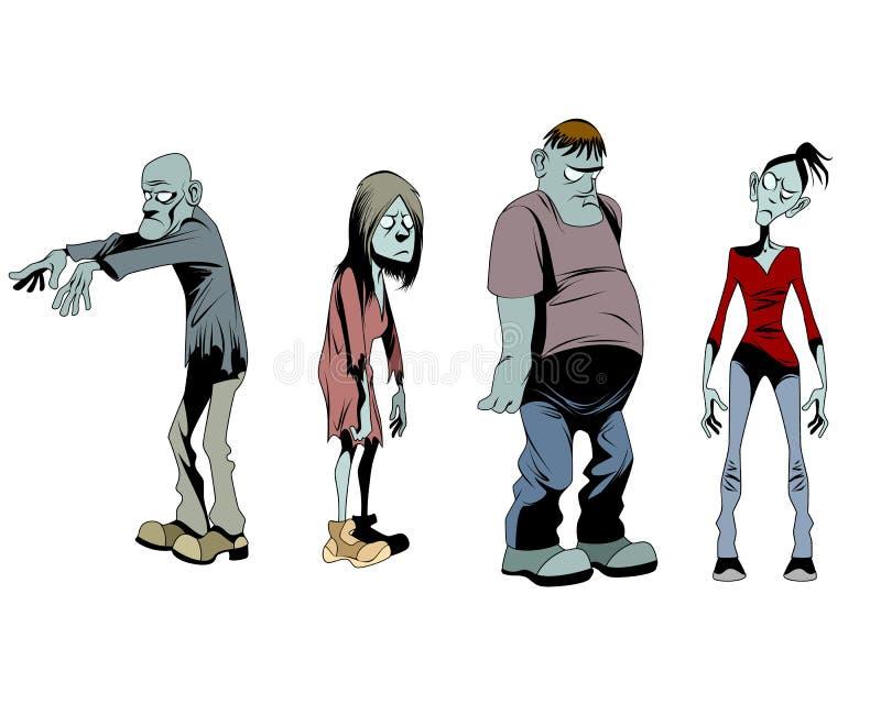 Vier geplaatste zombieën stock illustratie
