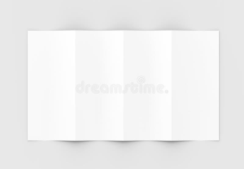 Vier gevouwen - 4-vouwen - verticaal die brochuremodel op sof wordt geïsoleerd royalty-vrije stock afbeeldingen