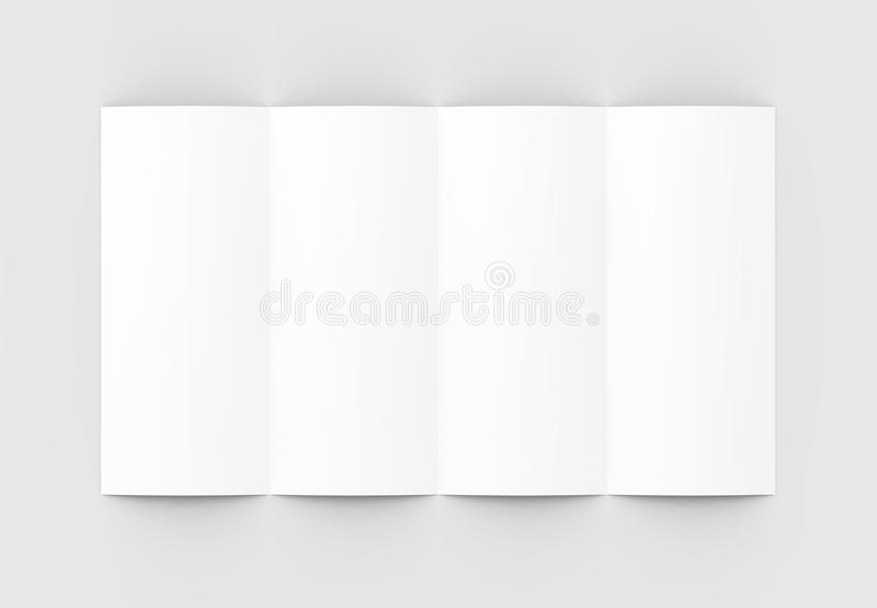 Vier gevouwen - 4-vouwen - verticaal die brochuremodel op sof wordt geïsoleerd royalty-vrije illustratie