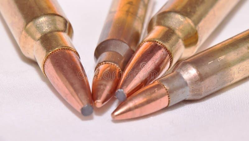 Vier Gewehrkugeln, zwei 223 Kaliber und zwei 300 Winchester Magnumkaliber stockfotografie