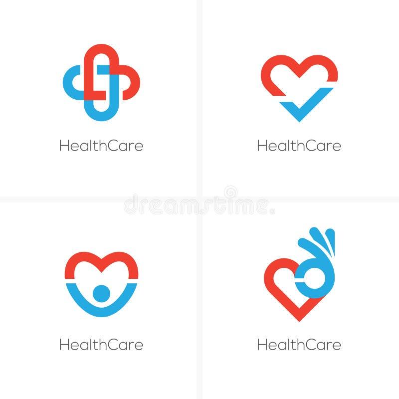 Vier gezondheidszorgembleem met hartvorm royalty-vrije illustratie