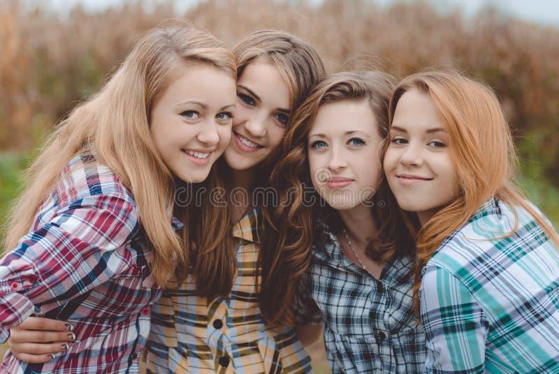 Vier glückliche lächelnde erstaunliche Jugendlichen, die haben lizenzfreie stockbilder