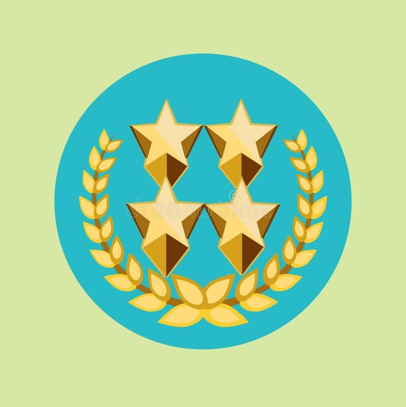 Vier goldene Sterne und goldene Kornkronenikone stock abbildung