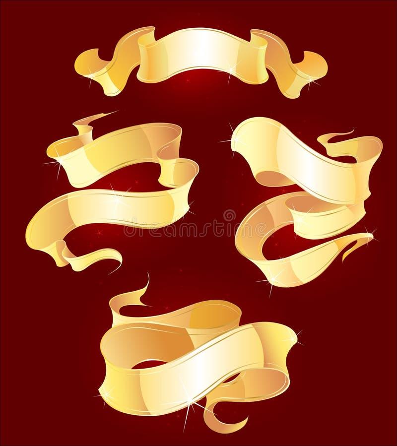 Vier Goldfarbbänder stock abbildung