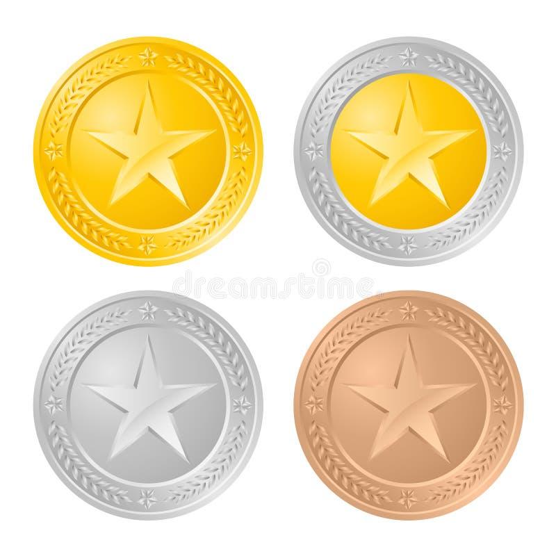Vier Goldmünzen lizenzfreie abbildung