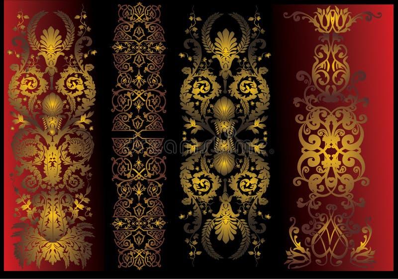 Vier gouden verticale strepeninzameling stock illustratie