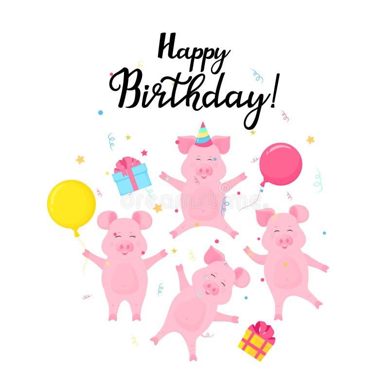 Vier grappige biggetjes vieren bij de partij De varkens met giften en ballonssprong en hebben pret Gelukkige verjaardagskaart stock illustratie