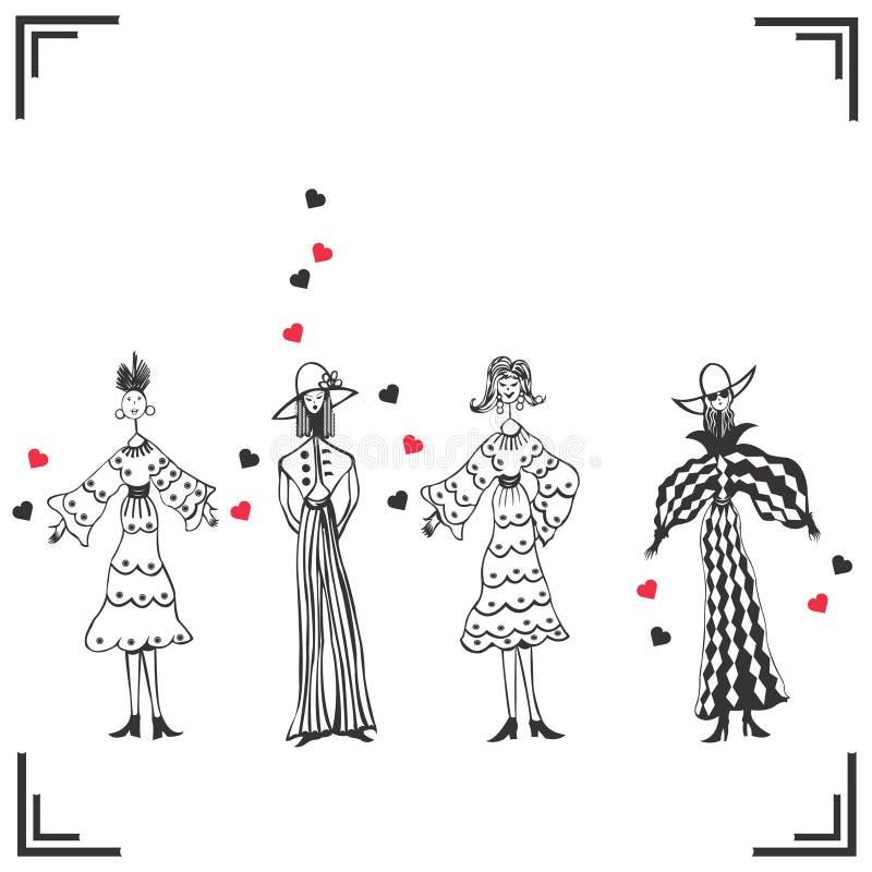 Vier grappige gevormde vrouwen royalty-vrije illustratie