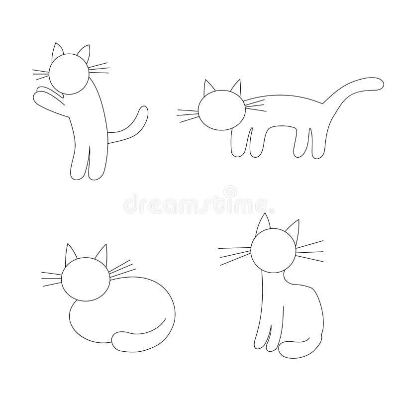 Vier grappige katten - vector stock illustratie