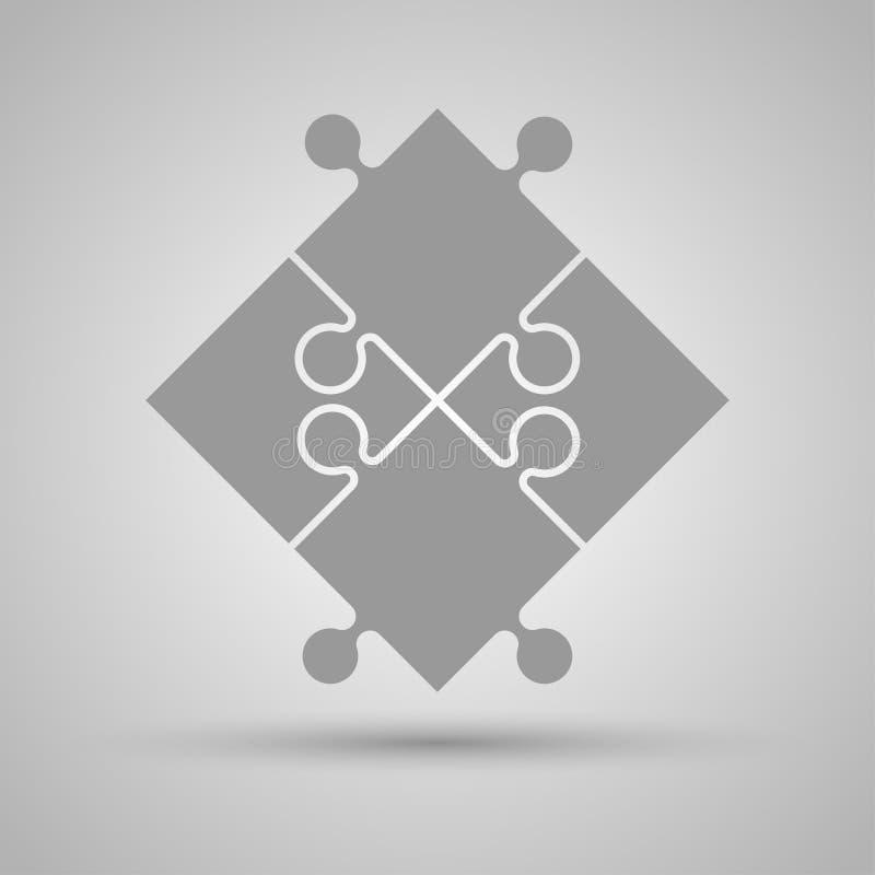 Vier Grey Piece Puzzle Round Infographic Schritt 4 stock abbildung