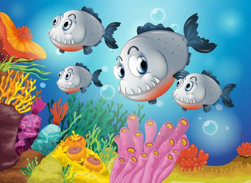 Vier grijze vissen onder het overzees stock illustratie