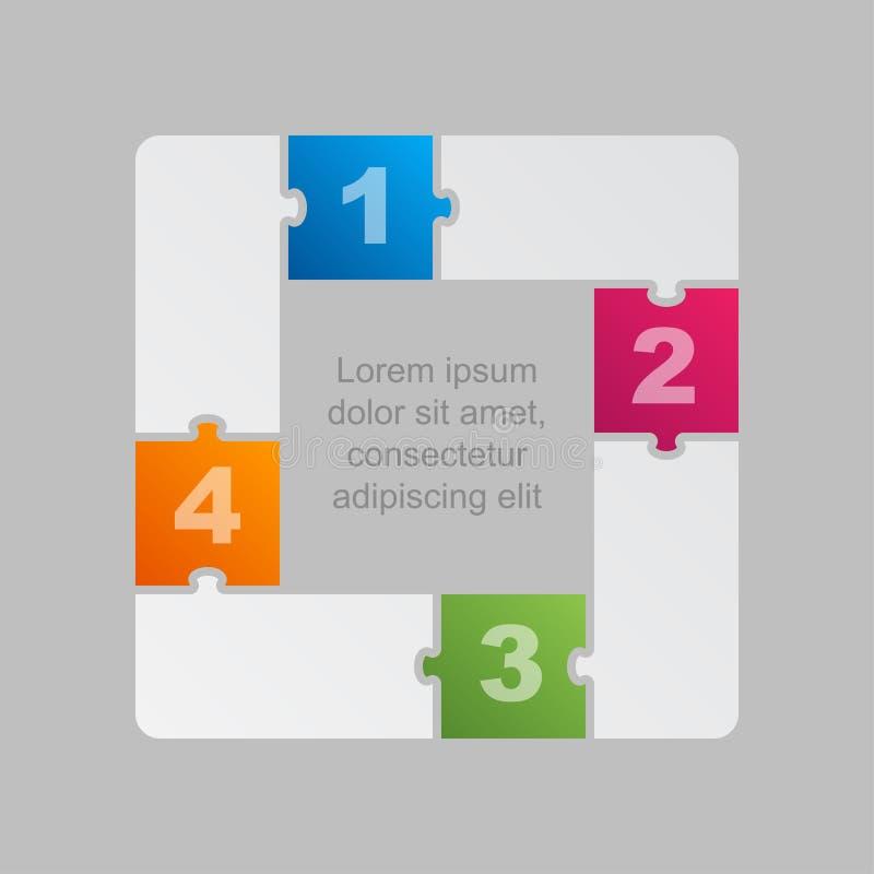 Vier Groen Stukkenraadsel Infographic 4 stappen vector illustratie