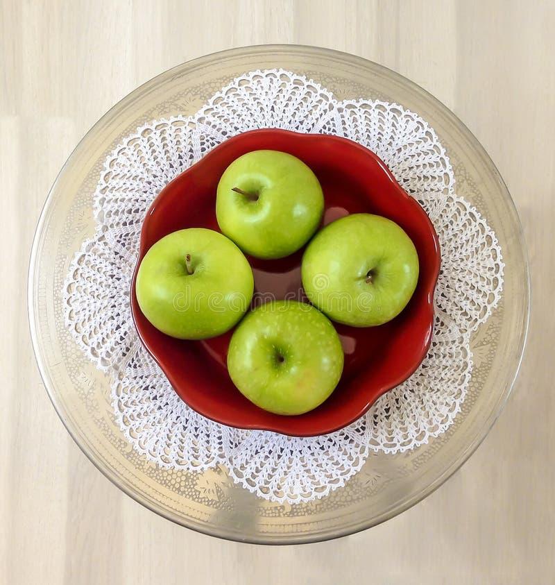 Vier groene appelen stock fotografie