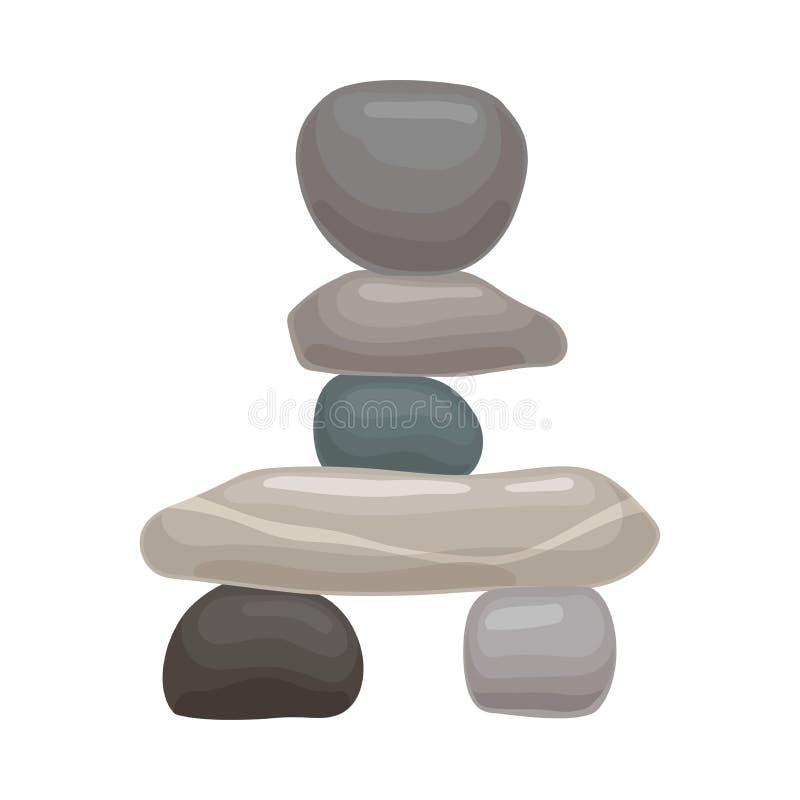 Vier grote vlakke stenen liggen op twee kleine degenen Vector illustratie op witte achtergrond vector illustratie