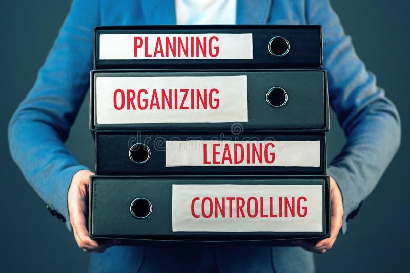 Vier Grundfunktionen des Managementprozesses in Geschäft organizat stockbilder