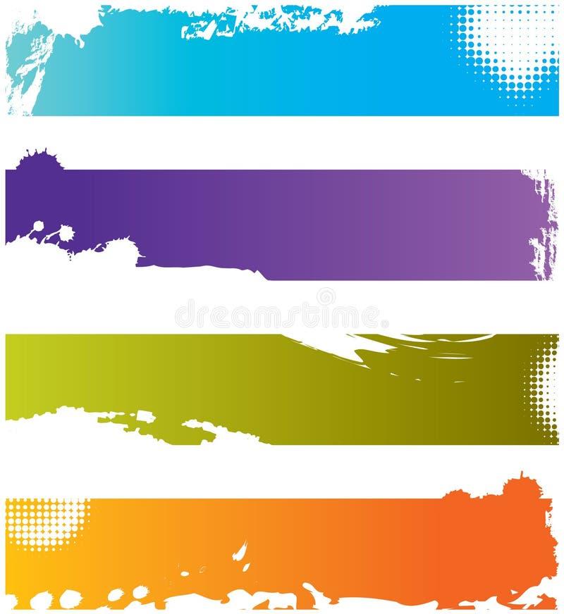 Vier grunge kleurrijke grenzen stock illustratie