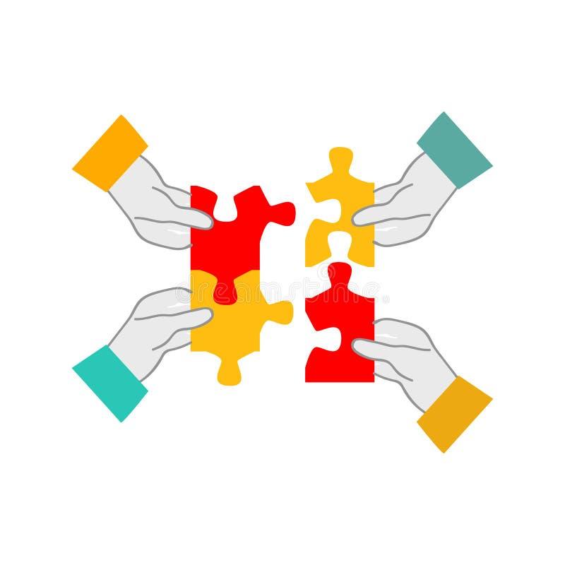 Vier Hände, die Puzzlespiel - Teamwork und Zusammenarbeit für das Geschäftskonzept lokalisiert auf weißem Hintergrund sammeln lizenzfreie abbildung