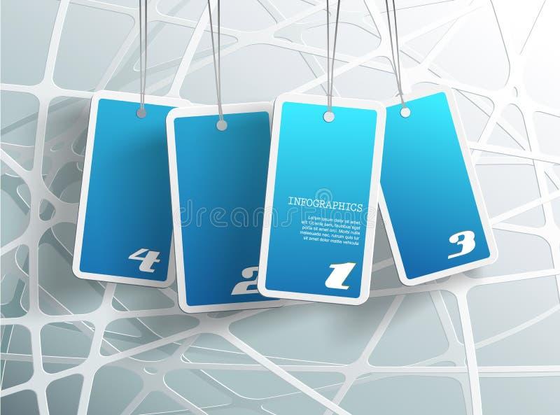 Vier hängende blaue Karten. lizenzfreie abbildung